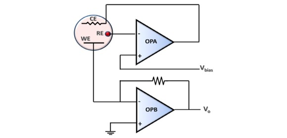 Figure 3 - Op amps in a potentiostat application