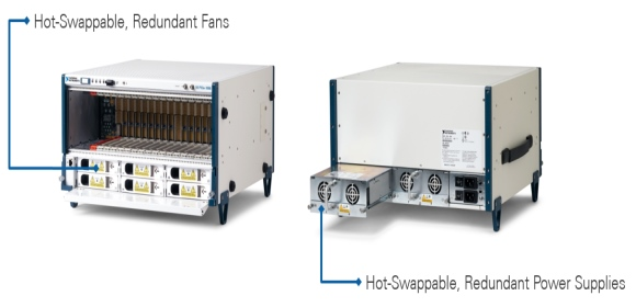 Figure 4: High-uptime PXI chassis with redundant fans and power supplies