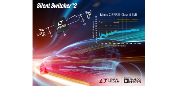42V, 6A, 3MHz synchronous step-down with reduced EMI/EMC emissions well below CISPR 25, class 5 limits