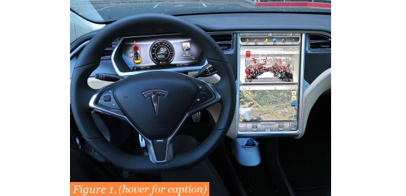 Figure 1. The Tesla Model S dashboard – a response to modern users' preference for graphics-rich control interfaces | Credit: Steve Jurvetson, under Creative Commons 2.0 licence