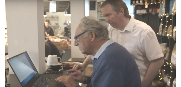Cyber security expert Marcus Dempsey guides 86 year old Alec Daniels in ethical hacking