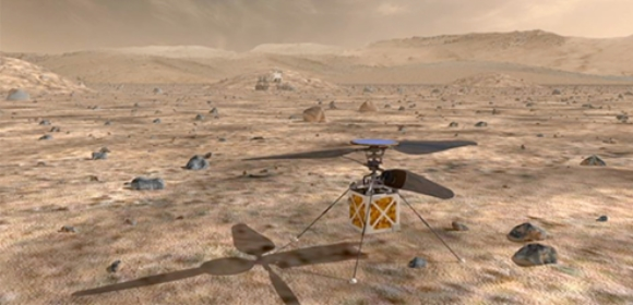 An artistic impression of the Mars helicopter | Credit: NASA/JPL