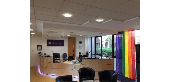 IET-Michael-Faraday-House-Stevenage-HQ-flies-rainbow-flag-for-Pride-in-STEM