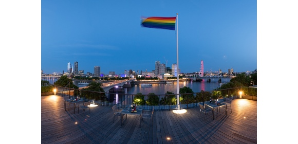 IET-London-Savoy-Place-at-night-flies-rainbow-flag-for-Pride-in-STEM