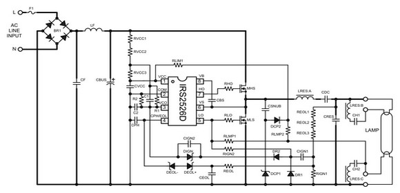 Schematic for 26W electronic ballast