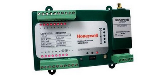 Honeywell's WDRR Din-Rail or Panel-Mountable Receiver supports up to 14 different remote battery-powered wireless limit switches