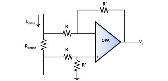 Figure 2 - Op amp as difference amplifier for current sensing application