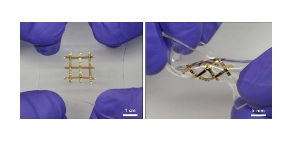 A wide range of stretchable electronics is being investigated, inc. this thin-film transistor matrix, shown relaxed & stretched to ~60%. Transistor parameters remain almost unchanged on stretching up to 140%. (Credit: Matsuhisa, N et al. Nature Comms
