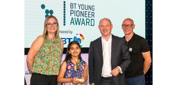 Tech4Good Awards 2019_Kate Russell, Technology Journalist, Mihika Sharma aged 9, Andy Wales, Chief Digital Impact & Sustainability Officer, BT, Mark Walker, Head of Marketing, AbilityNet [image credit - Guerman Botten]