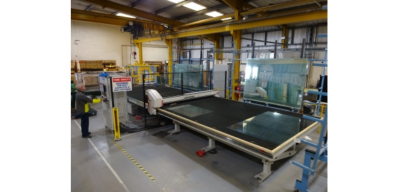 The £350,000 investment programme at Zytronic in Newcastle includes new equipment and storage systems to enhance capability & capacity - Cutting Table at Zytronic Newcastle site
