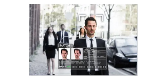Facial recognition_street_stock shot