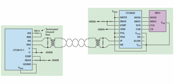 Figure 4. LTC6813 isolated connection with an LTC6820