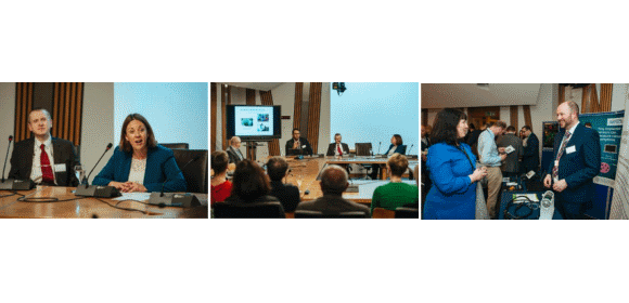 Figure 6. Sponsor, Kezia Dugdale opens the discussion in parliament [left]; Prof. Kev Dhaliwal introduced a clinician's perspective [middle]; and Dr Gerard Cummins introduces Sonopill [right]